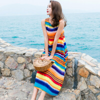 2018夏季新款雪纺海边度假沙滩裙波西米亚长裙宽松七彩条纹连衣裙 七彩色