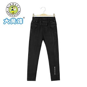 大黄蜂童装 2018年春季新款女童黑色牛仔裤宽松修身韩版裤子长裤