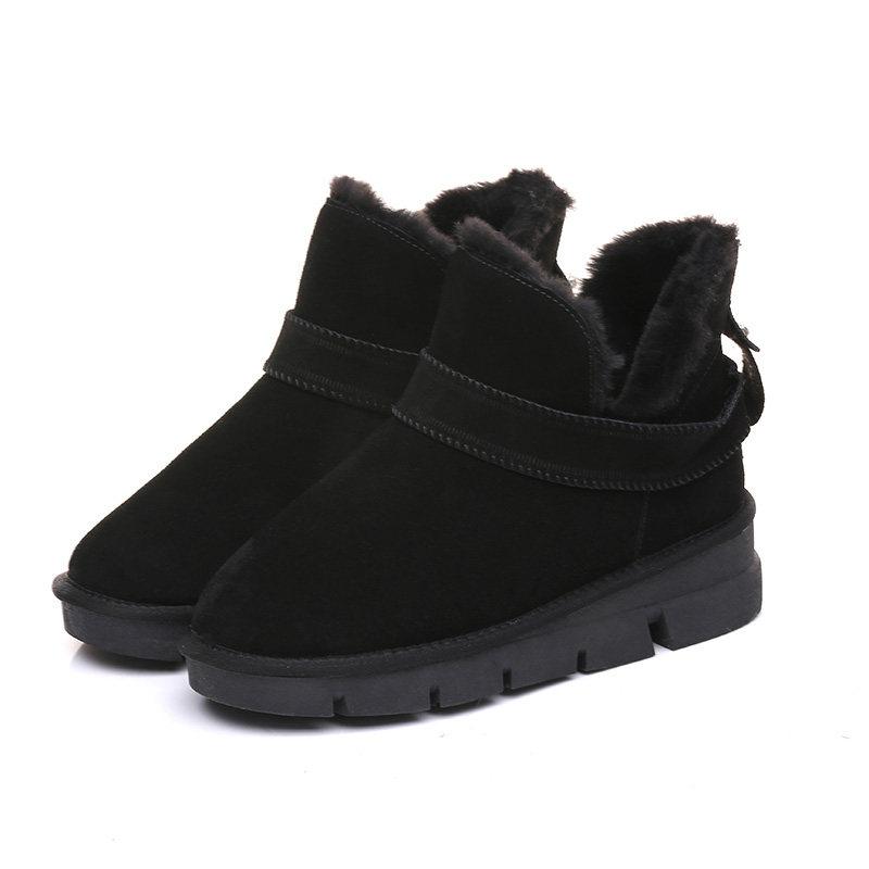 雪地靴女短筒2018新款冬潮韩版百搭学生厚底增高保暖加绒冬靴棉鞋
