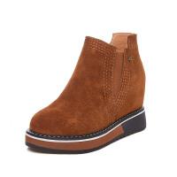 8cm内增高短靴女新款百搭真皮靴子加绒单靴松紧带踝靴厚底马丁靴软底