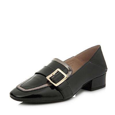 BASTO/百思图2018春季专柜同款牛皮漆皮方头浅口女单鞋AS201AQ8