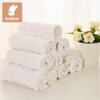 威尔贝鲁 加大12层 纯棉新生婴儿可洗纱布尿布 透气吸尿宝宝尿布
