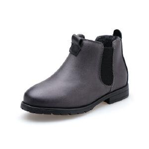 比比我儿童靴靴子马丁靴单靴短靴秋冬靴2017新款真皮靴