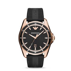 阿玛尼(EmporioArmani)休闲橡胶带手表 潮流经典时尚石英男表AR11101