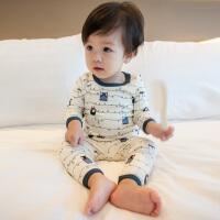 20180556254982018婴儿家居服新生儿纯棉睡衣春装男女宝宝衣服幼儿薄款内衣套装