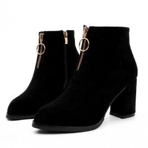 WARORWAR新品YM149-855-2秋冬欧美磨砂反绒粗跟中高跟防水台女士靴子短靴