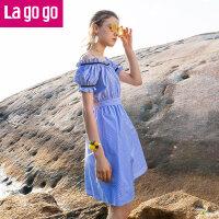 【5折价139.5】Lagogo/拉谷谷2018年夏季新款时尚清新一字吊带连衣裙HALL325A34