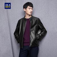 HLA/海澜之家立领PU皮夹克2018秋季新品时尚柔软舒适男士外套