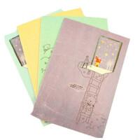 创意文具 32K日记本可爱小熊软面抄记事本笔记本车线本 4本装