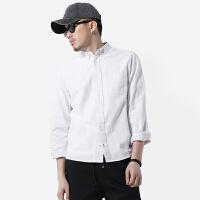 白衬衫男长袖男士牛津纺衬衣外穿立领寸衫男内搭打底文艺青年
