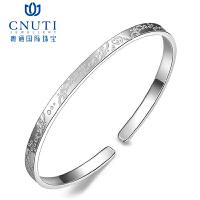 CNUTI粤通国际珠宝 银手镯足银波西米亚银镯子时尚简约秀气款 约11-12克