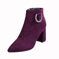 粗跟高跟冬季骑士靴2018新款尖头短靴绒面水钻皮带扣欧美风马丁靴