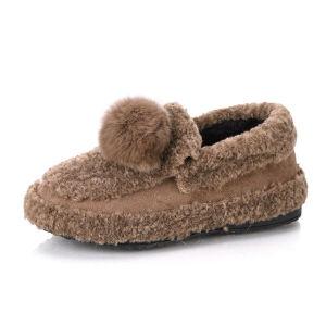 WARORWAR新品YM171-68-2冬季韩版平底舒适女士乐福鞋毛毛鞋