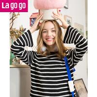 【清仓3折价71.7】Lagogo2019秋冬季新款黑白条纹圆领喇叭袖针织衫女套头毛衣宽松
