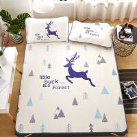 凉席冰丝席1.8m床单人学生宿舍夏季1.5卡通可折叠席子三件套1.2m 米白色 森林小鹿