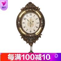 欧式挂钟客厅静音家用大气摆钟创意个性美式豪华大号装饰石英钟表
