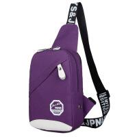 韩版潮胸包男帆布斜挎包单肩包休闲女学生背包运动防水腰包男包包 紫色