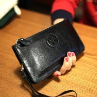 新款韩版复古女士钱包真皮手包 欧美女长款牛皮拉链手拿包潮