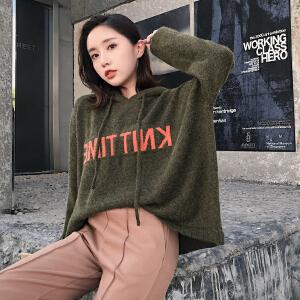 2018秋冬新款韩版宽松字母卫衣毛衣女长袖撞色时尚针织上衣潮