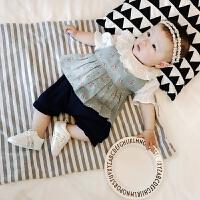 婴儿衣服夏季婴幼儿外出服花边领上衣裙子三件套女童宝宝套装