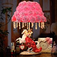 欧式订婚新婚礼品家居装饰品送闺蜜结婚礼物创意实用工艺摆件 马上结婚台灯 玫瑰花灯罩 红裙