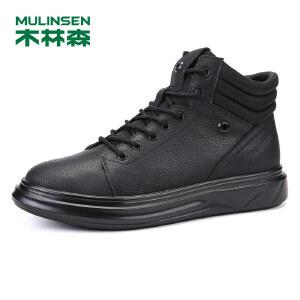 木林森99男鞋时尚真皮休闲鞋男士高帮鞋马丁靴1304103889