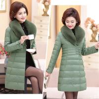 中年女冬季30-40-50岁妈妈冬装外套皮棉衣中长款羽绒PU服