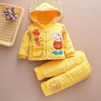 儿童唐装男童新年小孩过年衣服1-2-3岁婴儿冬装加厚宝宝棉衣套装 小猪佩奇黄色 三件套
