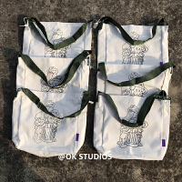 OK自制原创大容量男女生单肩书包袋日系KAWS芝麻街elmo斜挎帆布包