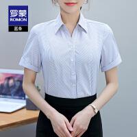 罗蒙纯色短袖衬衫女2021夏季新款商务休闲百搭衬衣修身显瘦上衣女