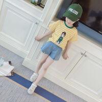 女童夏装新款套装衣服短袖中大童卡通宽松休闲T恤潮童上衣