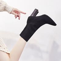 针织短靴女春秋款2018新款瘦瘦矮靴子女冬季网红高跟鞋女粗跟袜靴