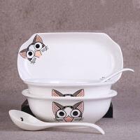 碗碟套装 家用陶瓷大号汤盆鱼盘餐具创意植物花卉卡通厨房用品陶瓷碗菜盘子饭碗组合