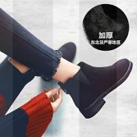 马丁靴子女鞋冬季2018新款网红瘦瘦加绒雪地棉鞋百搭平底英伦短靴SN1197