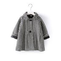 新款冬装女童公主外套韩版时尚千鸟格加厚保暖呢大衣外套B3-T37
