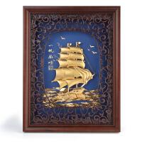 实木框画金箔画一帆风顺 送客户领导商务礼品实用摆件创意家居