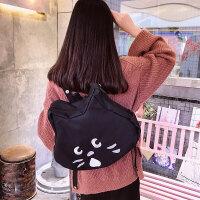日系可爱卡通猫咪学生帆布书包双肩包刺绣童趣背包斜挎手机包男女