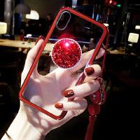 苹果X手机壳抖音气囊支架iPhone7plus新款6s情侣挂绳8p水钻女 iphone X 红色挂绳+水钻支架
