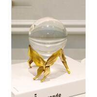 【支持礼品卡支付】欧式创意纯铜水晶球摆件简约现代家居装饰品样板间茶几电视柜摆设