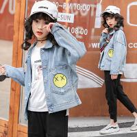 女童牛仔外套秋季韩版时尚刺绣笑脸牛仔上衣女孩子开衫潮