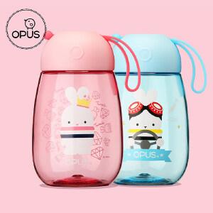 OPUS阿狸随手杯创意塑料水杯子儿童便携耐摔水壶可爱卡通带提绳啵兔系列