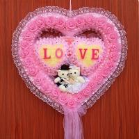 婚庆用品婚房装饰布置爱心情人节情侣生日礼物客厅房间拉花套餐 小熊爱心花环---600#