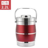 双层不锈钢保温饭盒三层保温桶3层便当盒大容量多层提锅多种颜色 2.2L鼓型酒红亚光色
