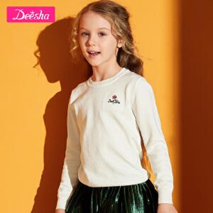 【2折价:39】笛莎童装女童针织衫2019春季新款中大童儿童纯色针织衫套头毛衣-白色