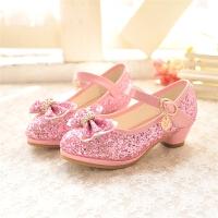 韩版女童鞋春秋季女童单鞋儿童公主鞋可爱皮鞋闪亮高跟鞋