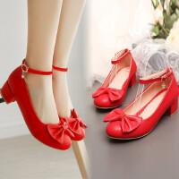女童皮鞋小女孩儿童高跟公主鞋9-12-15岁中学生黑白色演出舞蹈鞋