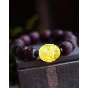 男士霸气款正宗天然小叶紫檀佛珠搭配天然蜜蜡十八罗