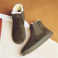 雪地靴男冬季保暖棉靴韩版短靴英伦风马丁靴加绒情侣棉鞋切尔西靴 墨绿色 5854