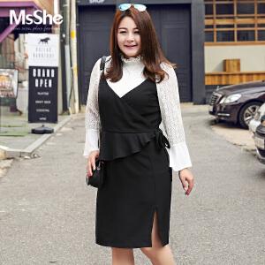 MsShe加肥加大码女装2017新款秋装胖mm深V领吊带裙连衣裙M1710243