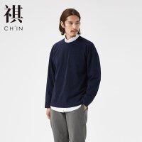 【全场2件2.5折,到手价:53.8】CHIN祺冬季新款男针织牛仔套头卫衣日系简约文艺长袖套头网红抖音